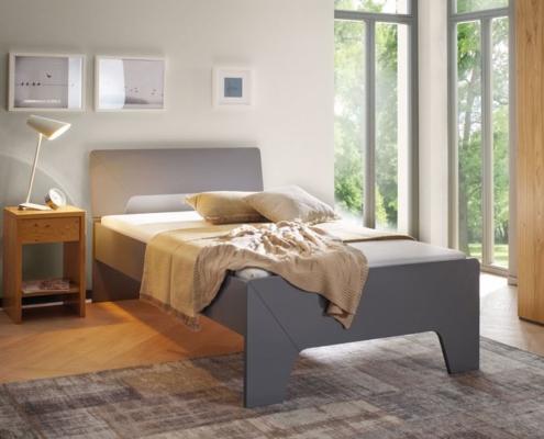 teilbare Betten - Eno als Einzelbett in Lack grau
