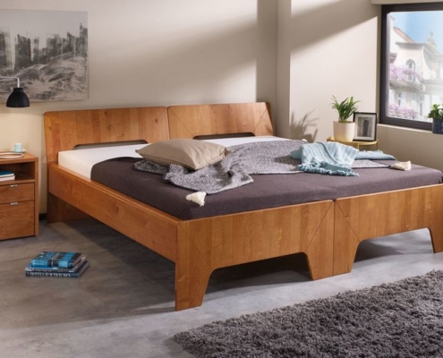 teibare Betten - Eno als Doppelbett in Wildeiche